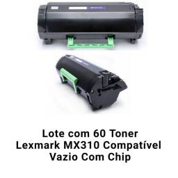 Título do anúncio: Lote com 60 Toner Lexmark Mx310 Compatível Vazio Com Chip