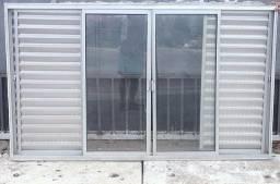 Janela aluminio veneziana 6 folhas 1,20x2,00