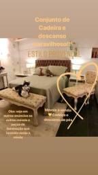 Bazar!!! Móveis provençal: Cadeira de braço e descanso de pés. Perfeito estado (NOVO)!