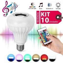 Kit 10 Lâmpada Lampada LED 7w RGB Caixa Som Bluetooth Controle Remoto 2 Em 1 MP3 Atacado