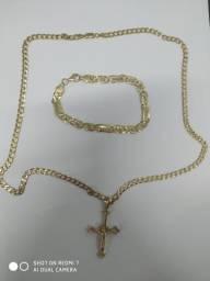 Cordão + pulseira ouro 18k