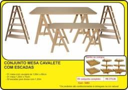 MDF - conjunto mesa cavalete com escadas