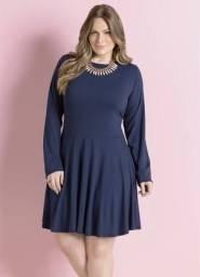 Vestido Rodado Azul Marinho Plus Size