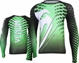 Camisa Venum Rashguard Amazonia Brasil verde tam: p-m-g