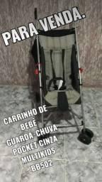 Carrinho De Bebê Guarda-chuva Pocket Cinza Multikids Bb502
