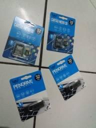 Cartão Memória e Pendrive de 32gb p/ Apenas 72R$ cada