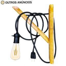 Título do anúncio: Arandela de Madeira Verniz Polikol com Fio 1 m e Plugue