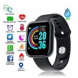 Relógio Smartwatch Inteligente D20 Y68 Android e IOS (Preto e Troca Fundo de Parede)