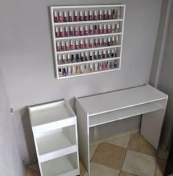 Título do anúncio: Kit Manicure - Mesa, Carrinho Auxiliar e Expositor de esmaltes