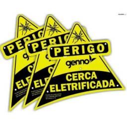 Kit 10 Placas De Advertência Nice Perigo Cerca Elétrica