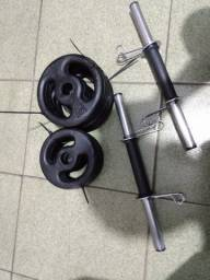 Kit / Conjunto 20 Kg Anilhas Pintadas Vazadas + Barras 40 cm - Por : R$ 199,90