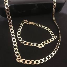 Corrente+pulseira banhada a ouro 18k frete grátis
