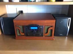 Vitrola retrô leitura vinil, pen drive, SD, CD e radio Am e FM