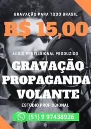 Título do anúncio: Gravação de Propaganda, Vinheta, Spot para Carro de Som, Moto e Bike Som em Todo Brasil