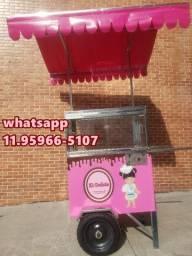 carrinho de bolo super lindo com toldo rosa