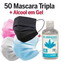 Máscara De Proteção 50 Un +álcool Gel 70% Antisséptico