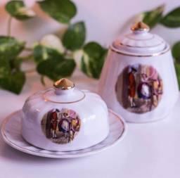 Título do anúncio: Manteigueira e açucareiro antigos de porcelana rami jundiaí