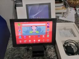 Tablet sony z2, faz ligação como celular aprova de água, carregador magnético, na caixa