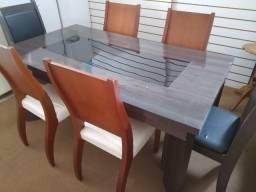 Mesa usada madeira 1,60x90 c/vidro + 6 cadeiras resistentes