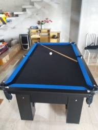 Mesa Charme Semi Cor Preta Tecido Preto e Borda Azul Mod. MGJE3302