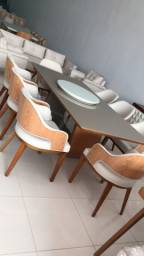 Mesa 2.20 por 110 base v prato giratório opcional ,cadeira Milão