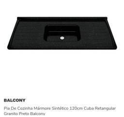 Pia De Cozinha Mármore Sintético 120cm Cuba Retangular Granito Preto