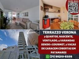 Título do anúncio: Terrazzo Verona, 3 quartos, nascente, 4 varandas e 2 vagas em Patamares - Maravilhoso