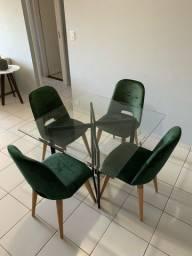 Título do anúncio: Conjunto mesa tampo vidro + 4 cadeiras veludo verde