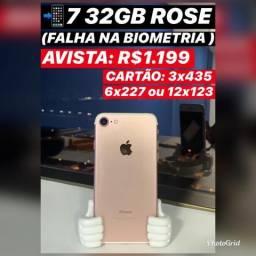IPhone 7 32gb rose com falha na biometria, somos loja