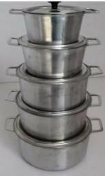 Jogo de Panela alumínio batido alça de ferro