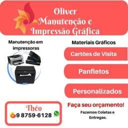 Cartões de visita, manutenção de impressora, serviços gráficos