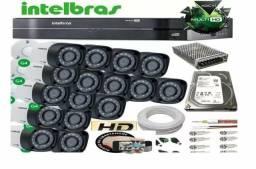 Kit com 16 câmeras 1010 ou 1120 Intelbras