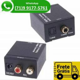 Conversor Audio Optico Digital Fibra coaxial Para rca Analogico Adaptador (NOVO)