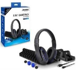 Kit 5 Em 1 Game Pack Playstation 4 Dock Fone Base