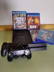 Título do anúncio: PS4 Fat 500GB + 2 controles + 4 jogos