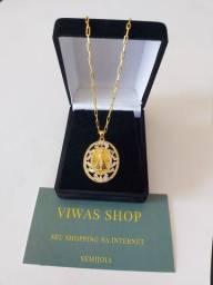 Título do anúncio: Medalhão De Nossa Senhora Aparecida Banhado A Ouro 18k