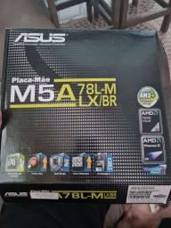 placa mãe Asus M5A78L-MLX/BR, AM3+ para/ Phenom II X6