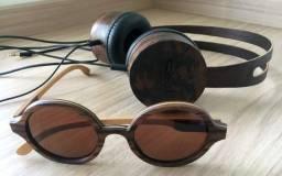 Título do anúncio: Headphone e Óculos de madeira Leaf - perfeito estado