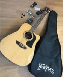 Violão Eletrico Washburn-Ad5 CE Pack Folk Novo Garantia-Capa, correia