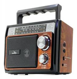 Rádio Retrô Vintage Am Fm Sw Recarregável Mp3 Aux P2 Sd Usb - entrega gratis