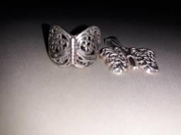 Anel e pingente de prata