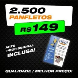 2.500 Panfletos 15x10cm / Arte Profissional Inclusa