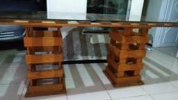 Mesa rústica com tampo de vidro medidas 175 por 90