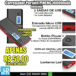 Promoção Carregador Portátil PowerBank Original Pineng PN968 10000mAh