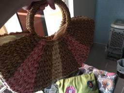 Bolsa de palha com zíper