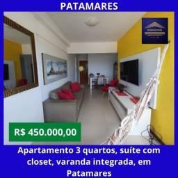 Título do anúncio: Excelente apartamento 3 quartos, finamente decorado, suíte com closet, armários