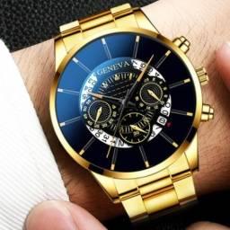 Relógio Clássico Negócios Gold, Pulseira de Aço e Calendário. Salvador - Bahia