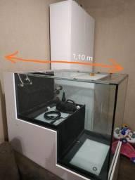 Título do anúncio: Lindo aquário em 2 níveis, com móvel auxiliar, encanamento e bomba de recalque.