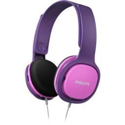 Fone De Ouvido Para Criança Kids Philips Com Limitador Volume rosa e lilás