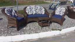 Conjunto de sofá Copacabana em fibra sintética
